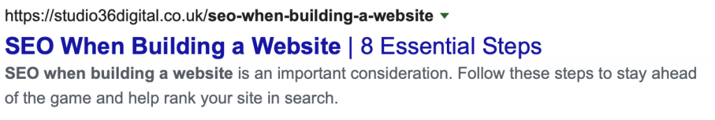page titles for SEO when building a website