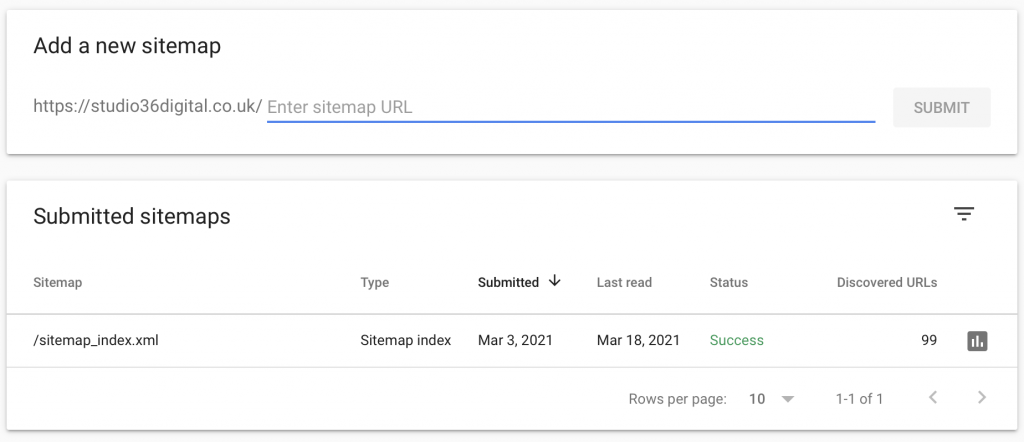 submitting a sitemap in search console