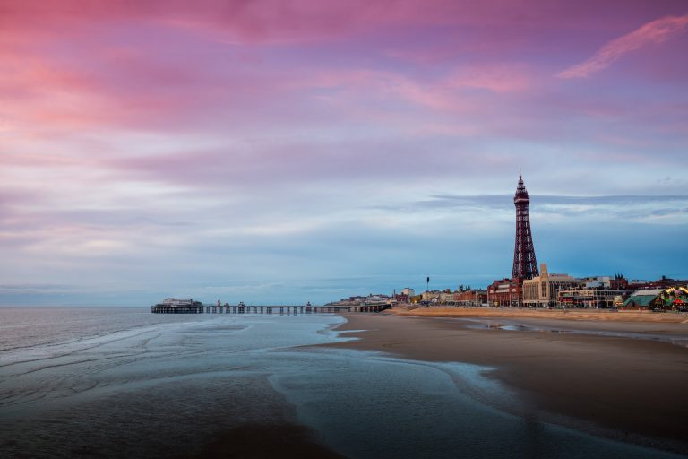 Blackpool town promenade view